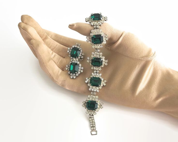 Crystal / rhinestone jewelry set, bracelet and earrings, clear circular crystals and large emerald green square crystals, mid 20th century by CardCurios on Etsy