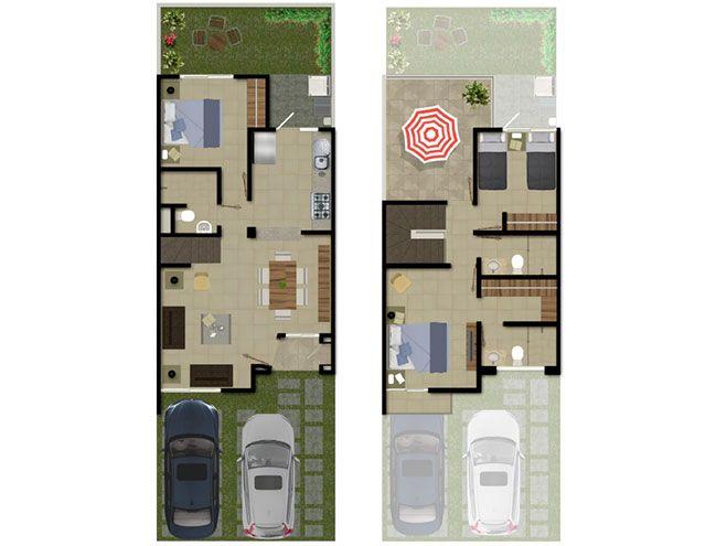 17 mejores ideas sobre plantas arquitectonicas en for Distribucion de casas de dos pisos