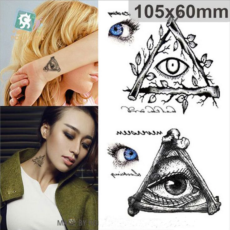 AC-043 New Fashion Waterproof Tattoo Sticker Halloween Terror Triangle Eyes Large Patterns 3d Temporary Tattoo Stickers