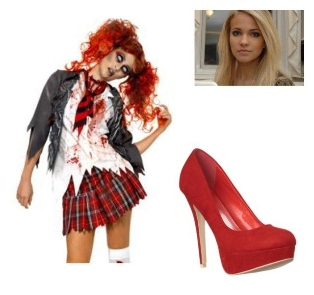 """Dead zombie school girl"" by lyndseymae ❤ liked on Polyvore"