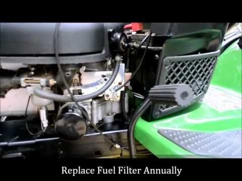 How to Change a John Deere Lawn Mower Fuel Filter - YouTube