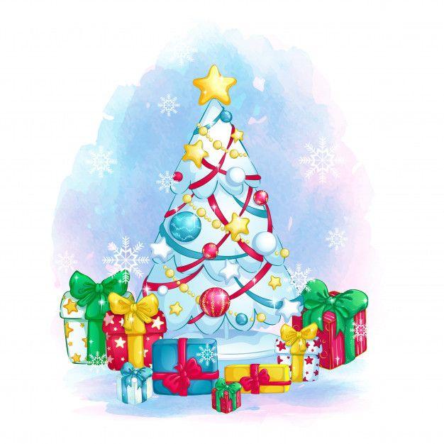 Стильная белая елка с красочными украшениями и подарочные ...