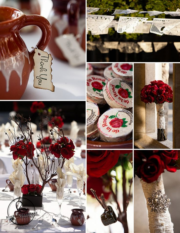 Red Rose Fiesta Wedding Inspiration Board: Mazapan, clay pitcher favors with hand-burned thank-you notes, long-stemmed red rose bouquet, and Papel picado dancing in the sun. (Russell Gearhart Photography - www.gearhartphoto.com)