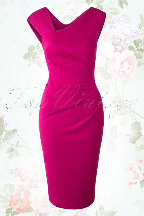 Vintage Chic 50s Myra Magenta Pencil Dress 100 22 16204 20150713 003W