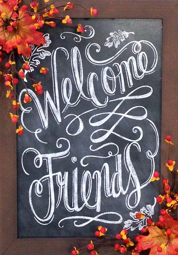 Welcome Friends Chalkboard Fall Chalkboard by CrookedTreeCreation
