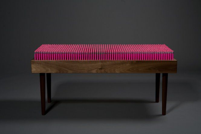 Pencil Bench by Boex: Made of 1,600 pencils, each of which can be removed and used. #Pencil_Bench #Bench #Boex