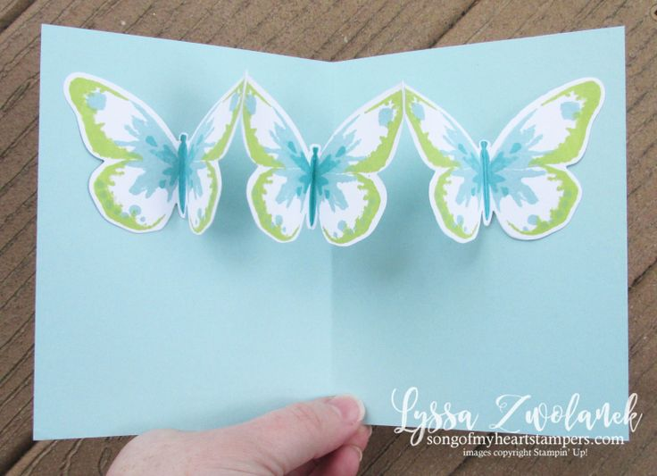 Triple Butterfly Pop Up Card free tutorial Lyssa Stampin Up technique bold butterflies free rubber stamping inside card ideas