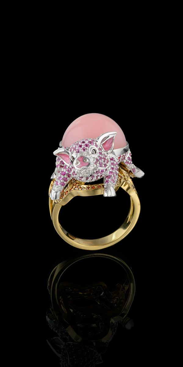 Master Exclusive Design - Collection: Animal world-Piggy ring-18K yellow and white gold, pink opal 9,61 ct, diamonds, black diamonds, cognac diamonds, pink sapphires, enamel.