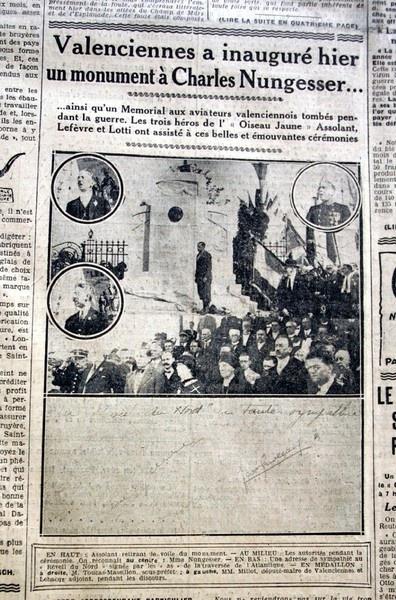 Article de journal sur l'inauguration du monument à Charles Nungesser.