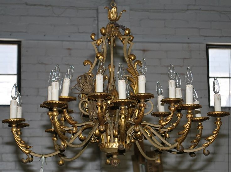 http://thegablesantiques.com Large French vintage chandelier in gilded iron  with 20 - 24 Best The Gables Antiques - Chandeliers Images On Pinterest