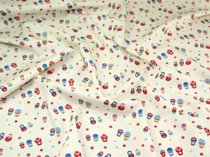 Russian Dolls Print Cotton Poplin Fabric Cream | Fabric | Dress Fabrics | Minerva Crafts
