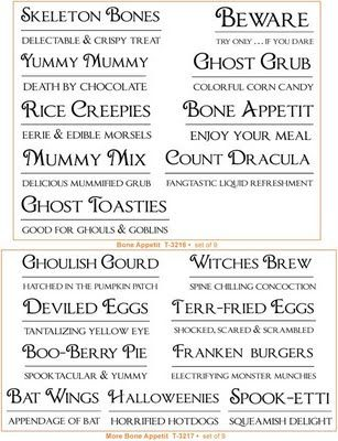 Fun Halloween food tags