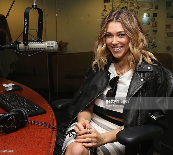 Singer Rachel Platten wearing our Boston Bar, Feather and Dream necklaces while on her interview with SiriusXM