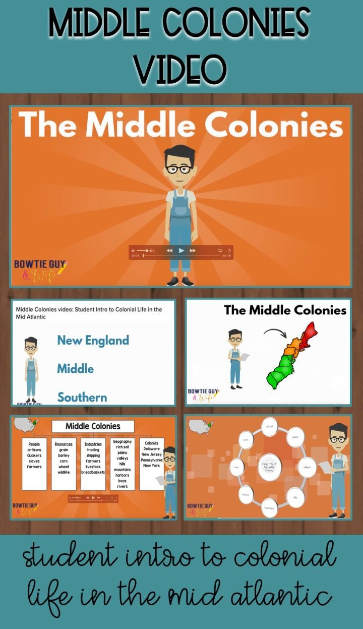 Take A Trip Through Time Into The Middle Colonies This Video Is Meant To Teach Students About The Mid Atlantic Or Middle Colonies Social Studies Class Student