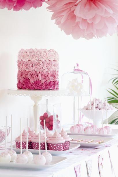 Bonito pastel de degradado rosa para coronar la mesa dulce. #candybar