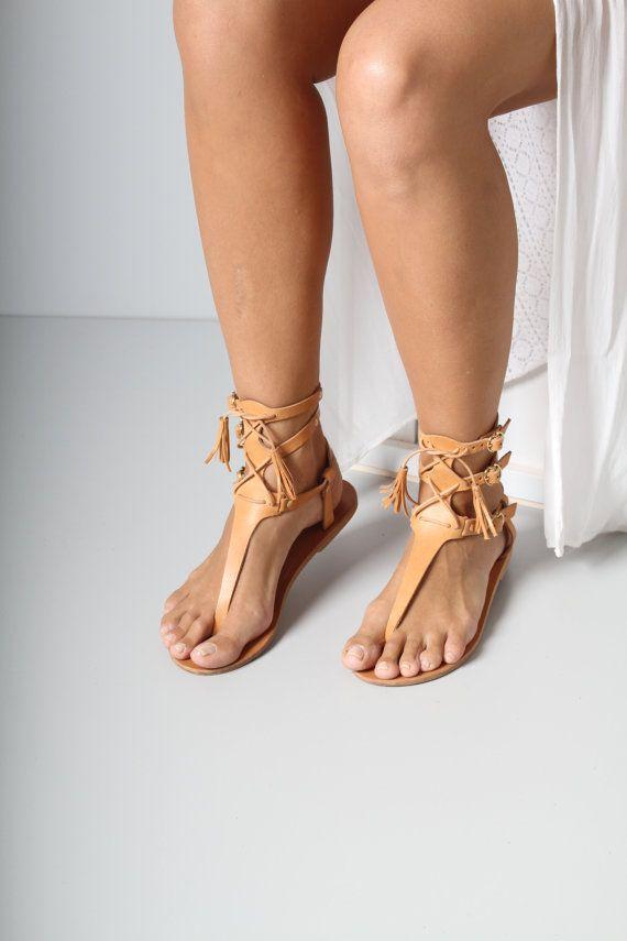 Leather sandals tassels black sole sandals by TheMerakiCompany