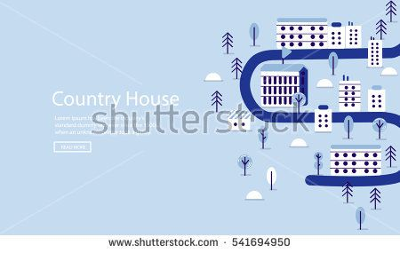 Vector landscape colorful  illustration on blue background #vector #illustration #flat #design #art #cartoon #shutterstoke #creativemarket