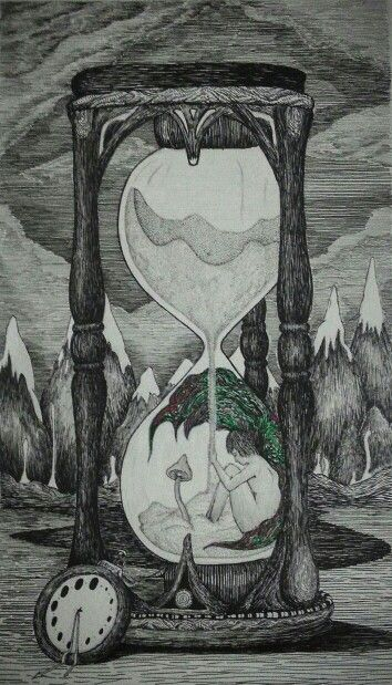 'Fairy trapped in Time' Pen and Ink by Eli Evangelidis