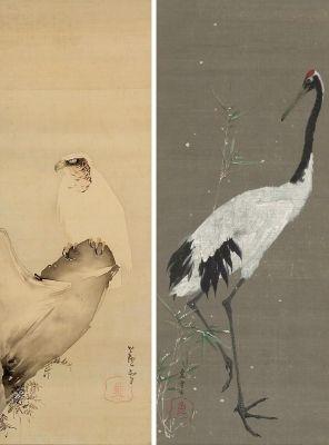 長沢芦雪 Rosetu Nagasawa 右『丹頂鶴図』 ボストン美術館  左『崖に鷹図』ハイファ博物館ティコティン日本美術館