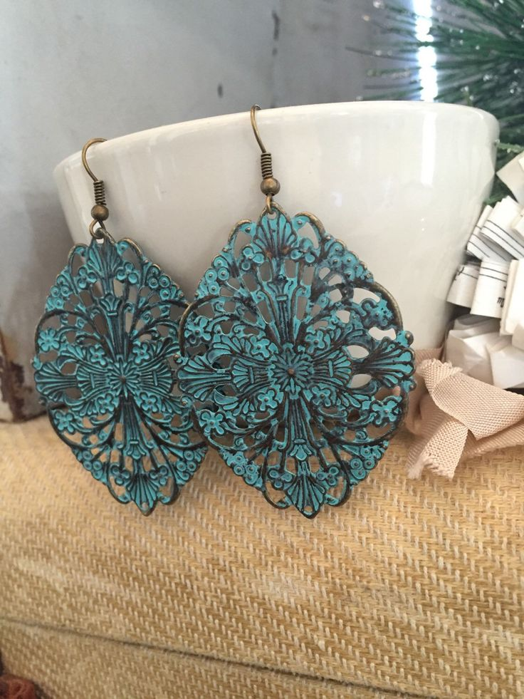 A personal favorite from my Etsy shop https://www.etsy.com/listing/258215964/turquoise-filigree-earrings