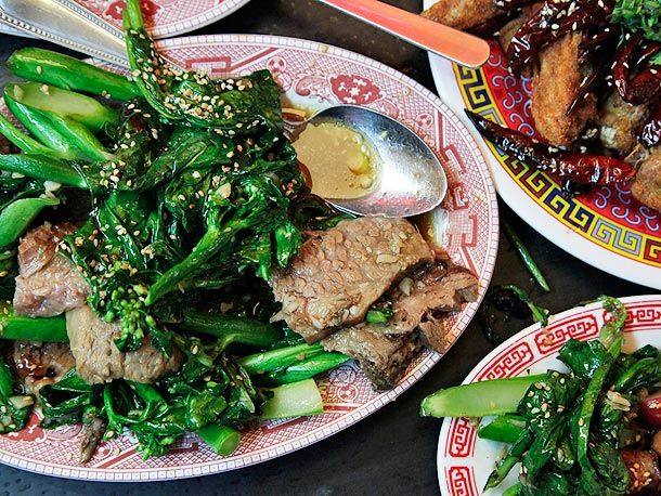 Mission Chinese Food - broccoli beef brisket with smoked oyster sauce ($15)