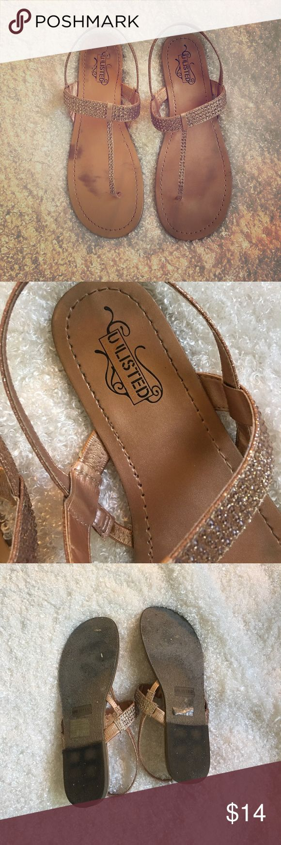 Beautiful sandals for summer 🌴 Champagne colored sandals. Worn 3-4 times. Includes box. These have some marks on the inside of the sandals, you cannot see once on your foot. Unlisted by Kenneth Cole Shoes Sandals