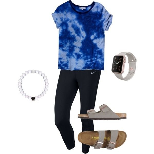 A fashion look from June 2016 featuring Sandro t-shirts, NIKE leggings and Birkenstock sandals. Browse and shop related looks.