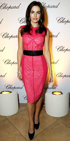 November 16, 2011  Camilla Belle  WHAT SHE WORE  Belle celebrated the relaunch of Chopard's Costa Mesa boutique in the label's diamond jewelry and a magenta Monique Lhuillier cocktail dress.