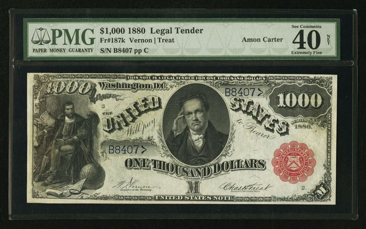 FR. 187k 1880 $1000 ONE THOUSAND DOLLARS LEGAL TENDER PMG EF-40 ULTIMATE RARITY in Coins & Paper Money, Paper Money: US, Large Size Notes | eBay