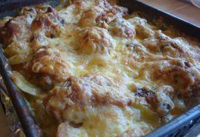Csirkecomb tejszínes-sajtos krumplival sütve