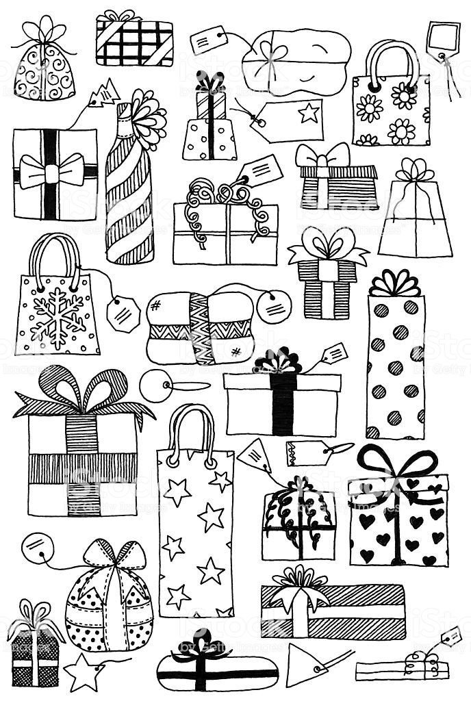 Hand drawn doodles of gift wrapped presents and gift tags