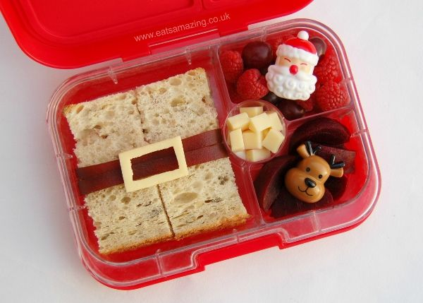 Simple Santa Sandwich - fun and healthy Christmas bento lunch idea for kids - Eats Amazing UK