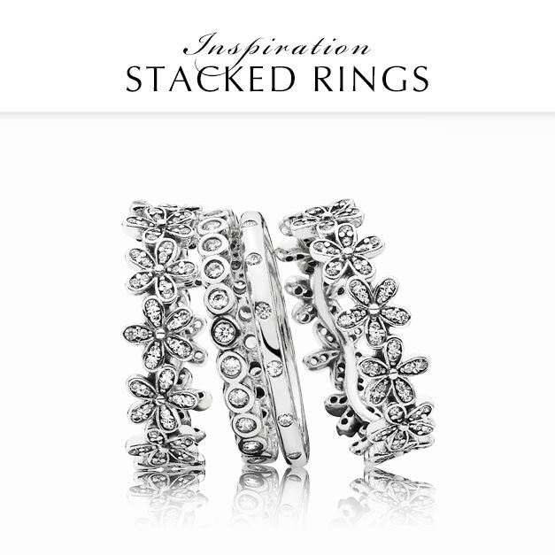 Go for a magical and timeless look by mixing the Dazzling Daisy bands with contemporary sparkling silver rings. #PANDORA #PANDORAring