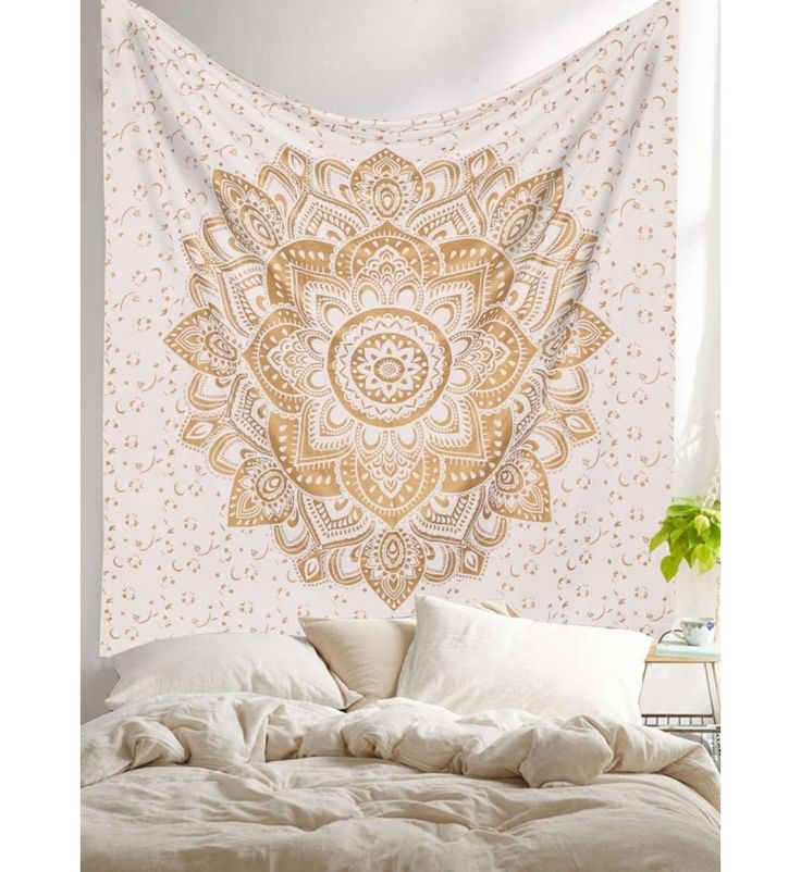 White Gold Passion Ombre Mandala Tapestry, Bohemian Wall Hanging