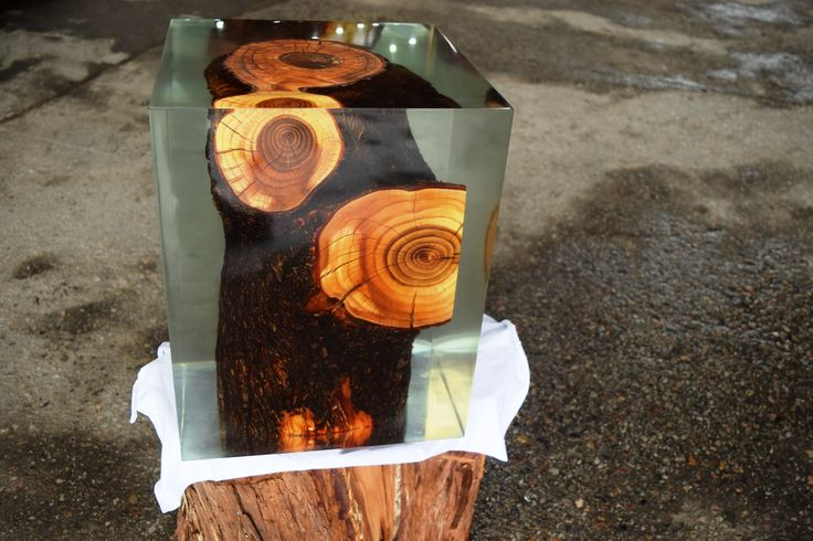 Resin & Stump Cube Stool by Contemporary Ecowood, cengizozen@me.com