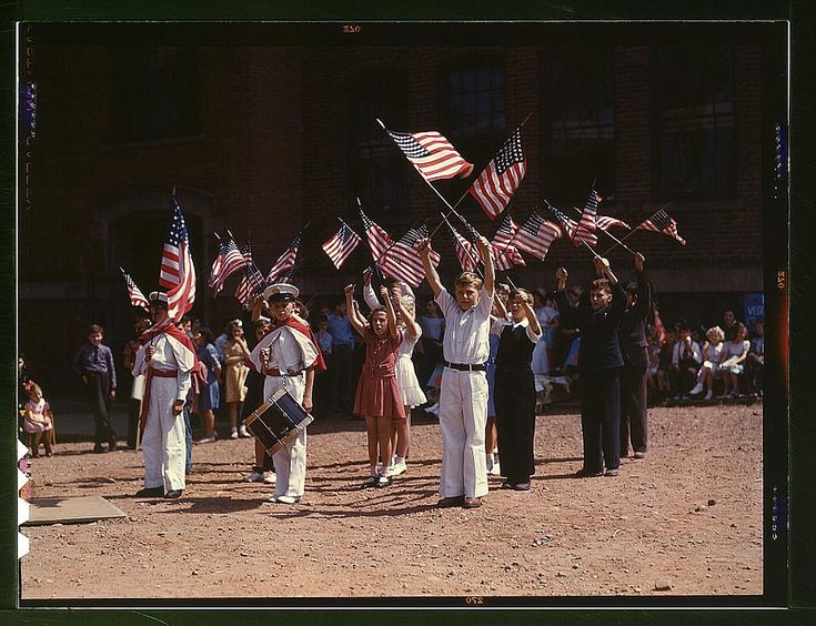 Children rally support for the nation's fight against the Axis power. Southington, Connecticut, 1942