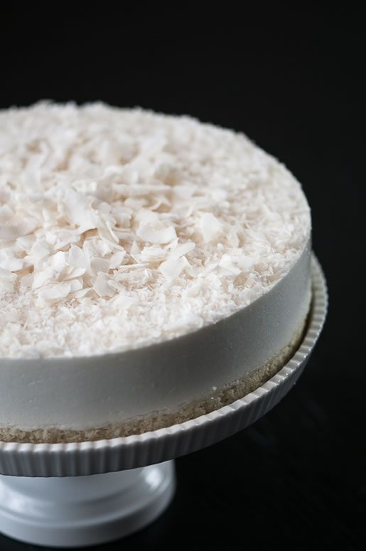 an amazing sponge cake made with plenty of sugar, coconut oil, and extra egg yolks; topped with a coconut milk (canned) eggless mousse made with heavy cream and gelatin