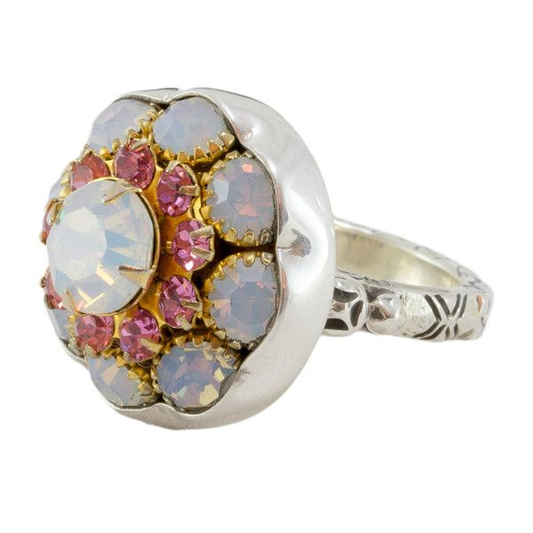 Elizabeth Ngo - Antique Button Ring - Pink and Opal Crystals - Rings created on stirling silver from gorgeous European buttons from the Victorian/Edwardian era in Europe (approx 1880-1930s) available from www.seasonsemporium.com