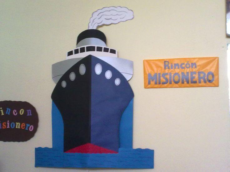 Para decorar el rincón misionero, un barco que surque los mares y cuyo nombre escojan los niños!