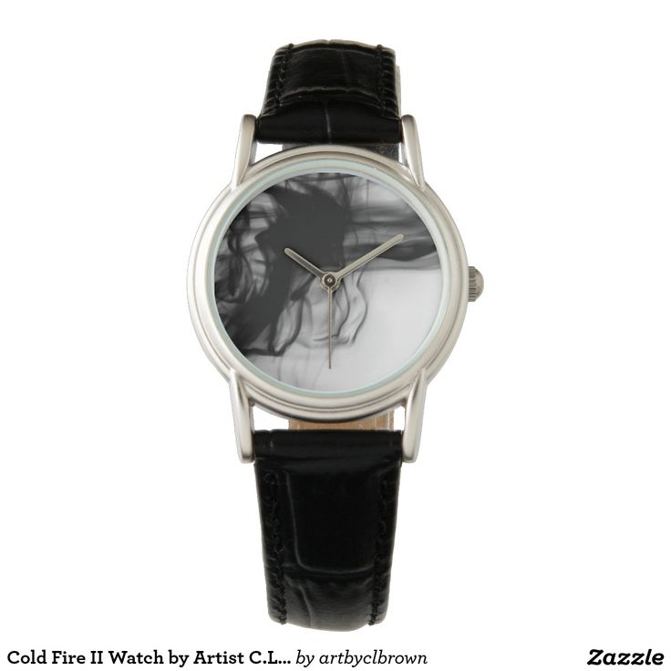Black Fire II Classic Black Leather Watch Designed by Artist C.L. Brown and available in a variety of styles on Zazzle. #watch #watches #fashion #accessories #artbyclbrown