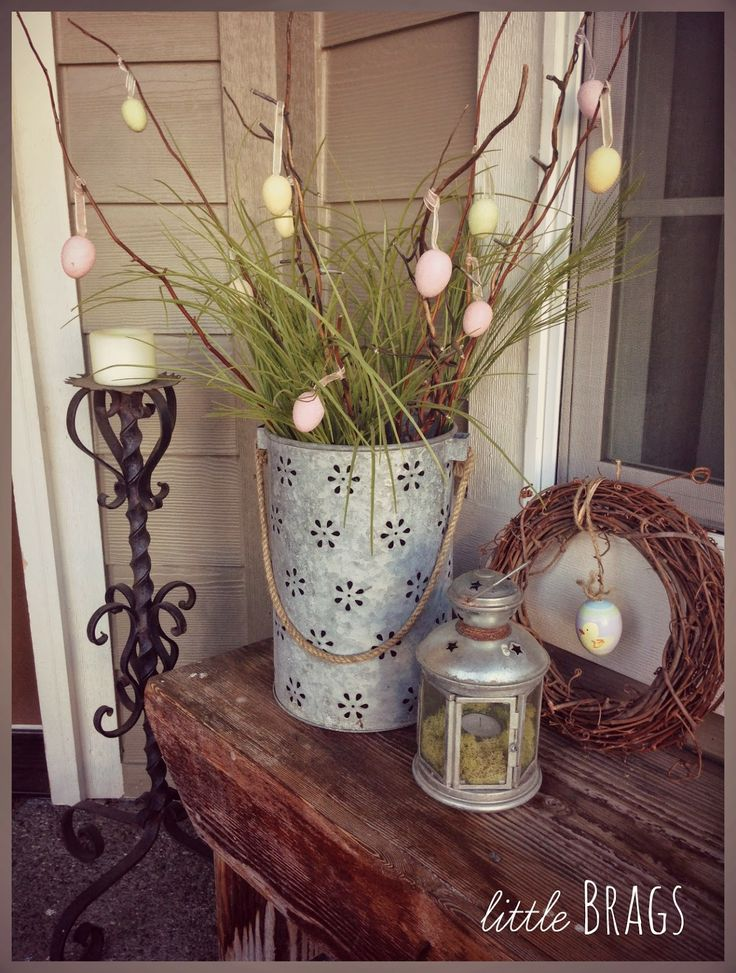 Little Brags on the porch....Easter decor