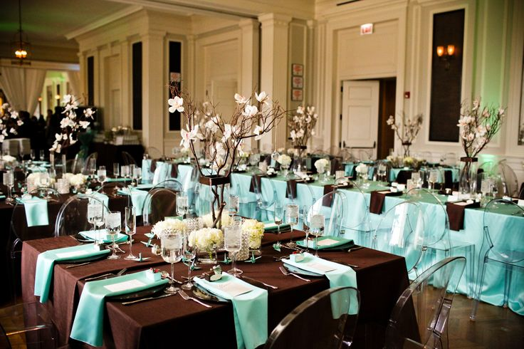 Brown/Black + Tiffany Blue Table Linens, White Branch ...