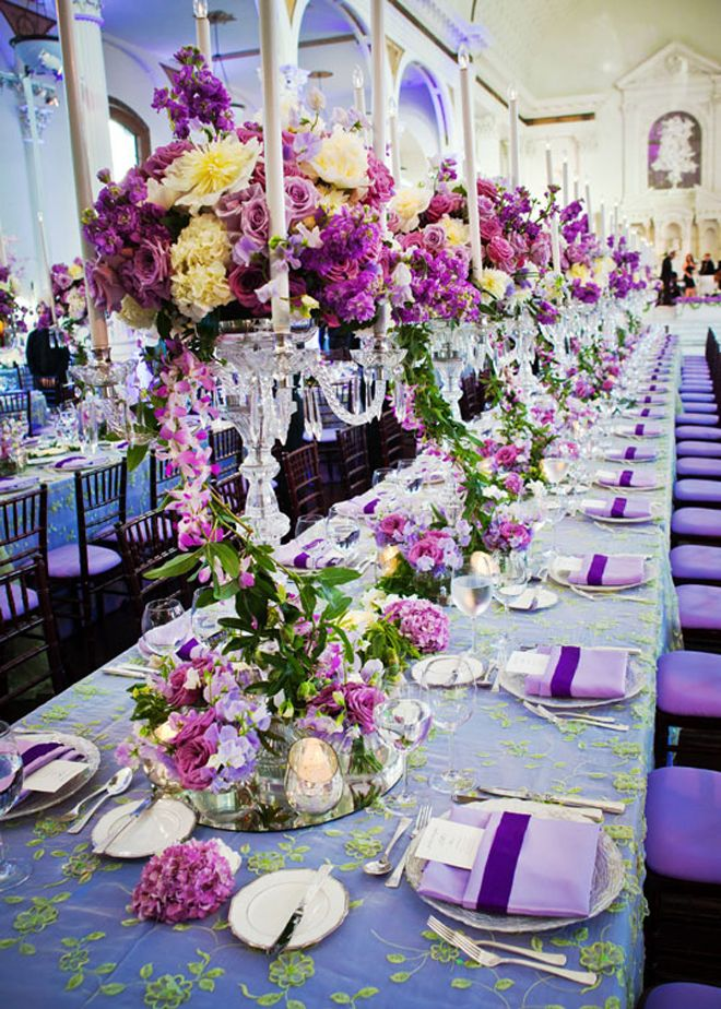 Lead crystals candelabra with mechanical candles and flowers in shades of lavender and purple: Yellow Flowers, Tables Sets, Shades Of Purple, Johnson Photography, Floral Design, Tables Centerpieces, Wedding Theme, Long Tables, Tables Decor