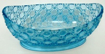 """Victorian Bowls served many purposes. They were called by various names.  Some early catalogs called them 'saucers' even when they were as large as 8"""" in diameter, or 'nappies' & sometimes they would be low comports or compotes.  This blue bowl is an EAPG pattern, Currier & Ives made by the Cooperative Flint Glass Co. ca. 1880s.  It was made very rarely in color.  It is 10"""" long & $125.  Visit our Bowl Store at PatternGlass.com to see over 300 more bowls from $25 for sale!"""