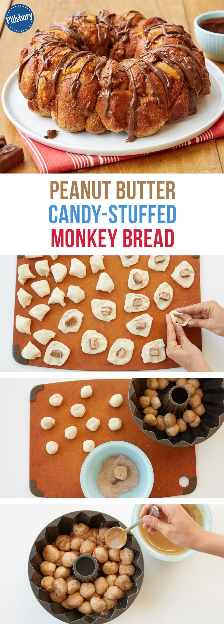 A quick trick for a great treat? This crazy good combo of candy-stuffed, peanut butter-coated, Nutella-drizzled monkey bread has to be one of our favorites! This indulgent, yet delicious monkey bread can be made for special occasions when you really have a sweet tooth and candy laying around the house (aka. Halloween). You won't be disappointed after making this one-of-a-kind recipe and sharing it at a fun party!