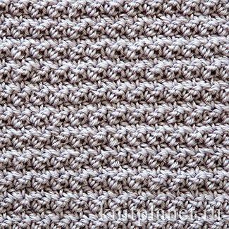 В этом узоре используются самые простые столбики: столбики без накида и с одним накидом. Узор довольно плотный и, вместе с тем, не жесткий. Отлично подойдет в качестве основной вязки для самых разных изделий. Хорошо сочетается с вязаной отделкой и декоративными узорами.