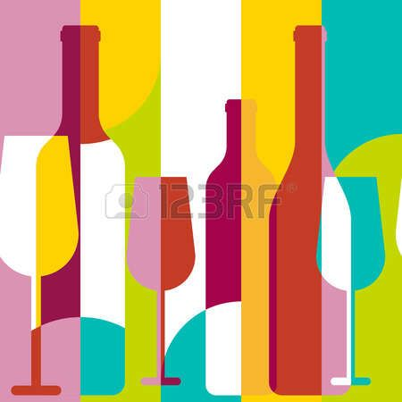 pink wine: Vector seamless background, wine bottle and glass silhouette. Abstract flat color blocking geometric illustration. Concept for wine list, menu, party, alcohol drinks, poster design. Illustration