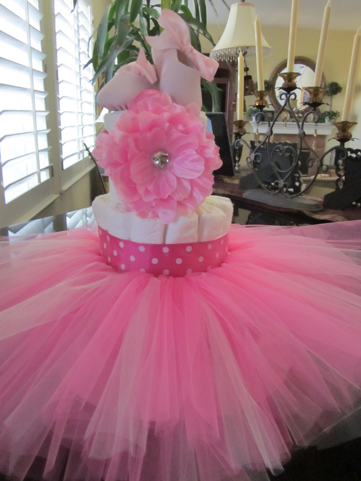 Tutu Diaper Cake With Ballet Shoes And Matching Head Pinterest