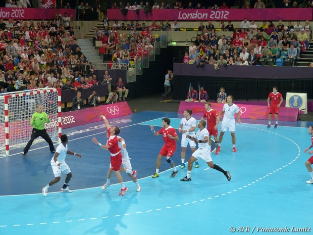 France (white) versus Team GB (red) in men's handball. (ATR/Panasonic Lumix) Add Around The Rings on www.Twitter.com/AroundTheRings & www.Facebook.com/AroundTheRings for the latest info on the #Olympics.