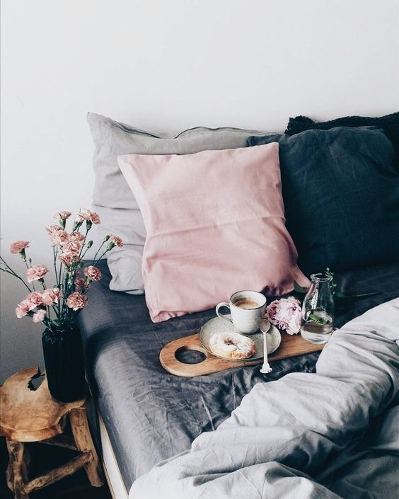 Idea for bedroom colour scheme? Grey blue and pale pink?